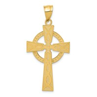 14k gold celtic cross pendant with eternity circle studded design measures 1516w x 1 34